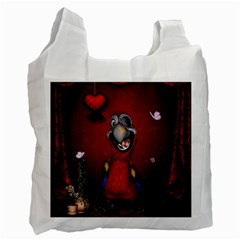 Funny, Cute Parrot With Butterflies Recycle Bag (two Side)