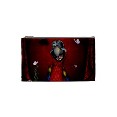 Funny, Cute Parrot With Butterflies Cosmetic Bag (small)