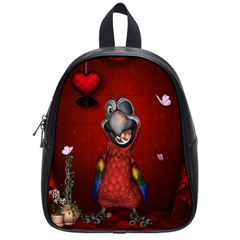 Funny, Cute Parrot With Butterflies School Bag (small)