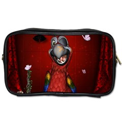 Funny, Cute Parrot With Butterflies Toiletries Bags