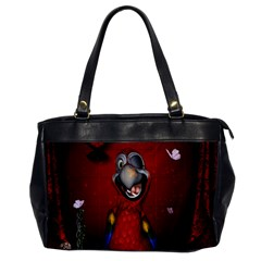 Funny, Cute Parrot With Butterflies Office Handbags