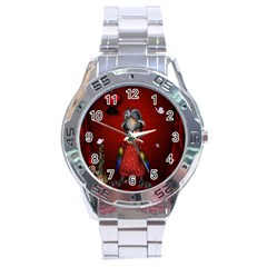 Funny, Cute Parrot With Butterflies Stainless Steel Analogue Watch