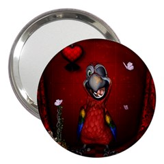 Funny, Cute Parrot With Butterflies 3  Handbag Mirrors