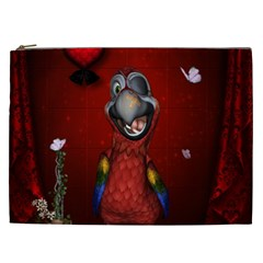 Funny, Cute Parrot With Butterflies Cosmetic Bag (xxl)