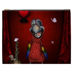 Funny, Cute Parrot With Butterflies Cosmetic Bag (xxxl)