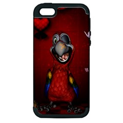 Funny, Cute Parrot With Butterflies Apple Iphone 5 Hardshell Case (pc+silicone)