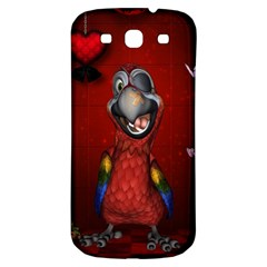 Funny, Cute Parrot With Butterflies Samsung Galaxy S3 S Iii Classic Hardshell Back Case