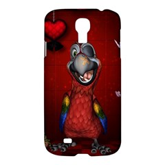 Funny, Cute Parrot With Butterflies Samsung Galaxy S4 I9500/i9505 Hardshell Case