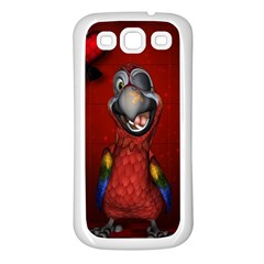 Funny, Cute Parrot With Butterflies Samsung Galaxy S3 Back Case (white)