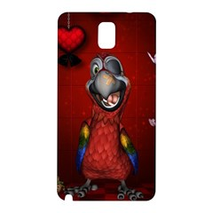 Funny, Cute Parrot With Butterflies Samsung Galaxy Note 3 N9005 Hardshell Back Case