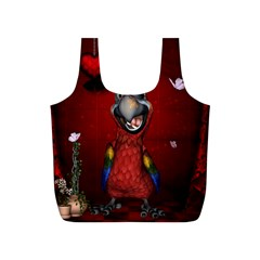 Funny, Cute Parrot With Butterflies Full Print Recycle Bags (s)