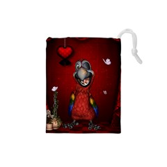 Funny, Cute Parrot With Butterflies Drawstring Pouches (small)