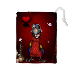 Funny, Cute Parrot With Butterflies Drawstring Pouches (large)