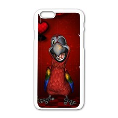 Funny, Cute Parrot With Butterflies Apple Iphone 6/6s White Enamel Case