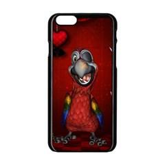 Funny, Cute Parrot With Butterflies Apple Iphone 6/6s Black Enamel Case