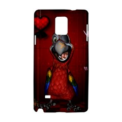 Funny, Cute Parrot With Butterflies Samsung Galaxy Note 4 Hardshell Case