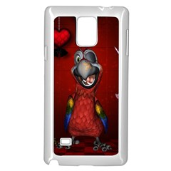Funny, Cute Parrot With Butterflies Samsung Galaxy Note 4 Case (white)