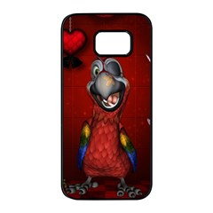 Funny, Cute Parrot With Butterflies Samsung Galaxy S7 Edge Black Seamless Case