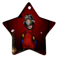 Funny, Cute Parrot With Butterflies Ornament (star)