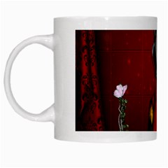 Funny, Cute Parrot With Butterflies White Mugs