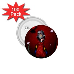 Funny, Cute Parrot With Butterflies 1 75  Buttons (100 Pack)