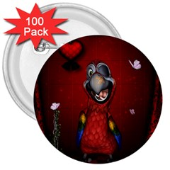 Funny, Cute Parrot With Butterflies 3  Buttons (100 Pack)