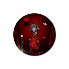 Funny, Cute Parrot With Butterflies Rubber Coaster (round)