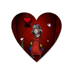 Funny, Cute Parrot With Butterflies Heart Magnet