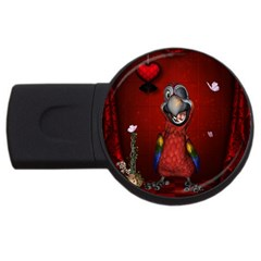 Funny, Cute Parrot With Butterflies Usb Flash Drive Round (2 Gb)