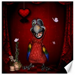 Funny, Cute Parrot With Butterflies Canvas 12  X 12