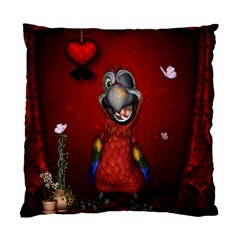Funny, Cute Parrot With Butterflies Standard Cushion Case (one Side)