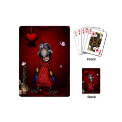 Funny, Cute Parrot With Butterflies Playing Cards (mini)