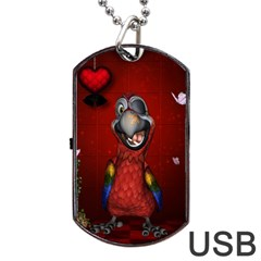 Funny, Cute Parrot With Butterflies Dog Tag Usb Flash (two Sides)