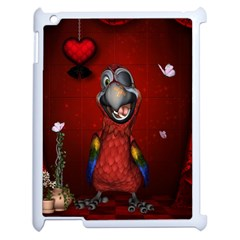 Funny, Cute Parrot With Butterflies Apple Ipad 2 Case (white)