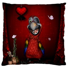 Funny, Cute Parrot With Butterflies Large Cushion Case (two Sides)