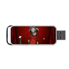 Funny, Cute Parrot With Butterflies Portable Usb Flash (one Side)