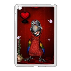 Funny, Cute Parrot With Butterflies Apple Ipad Mini Case (white)