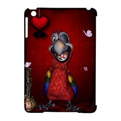 Funny, Cute Parrot With Butterflies Apple Ipad Mini Hardshell Case (compatible With Smart Cover)