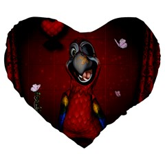 Funny, Cute Parrot With Butterflies Large 19  Premium Heart Shape Cushions