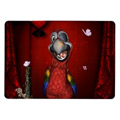 Funny, Cute Parrot With Butterflies Samsung Galaxy Tab 10 1  P7500 Flip Case