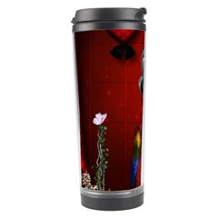 Funny, Cute Parrot With Butterflies Travel Tumbler