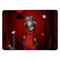 Funny, Cute Parrot With Butterflies Samsung Galaxy Tab Pro 12 2  Flip Case