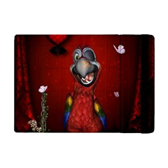 Funny, Cute Parrot With Butterflies Ipad Mini 2 Flip Cases