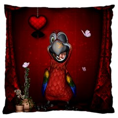 Funny, Cute Parrot With Butterflies Large Flano Cushion Case (two Sides)