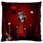 Funny, Cute Parrot With Butterflies Large Flano Cushion Case (Two Sides) Back