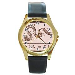 Original Design, Join Or Die, Benjamin Franklin Political Cartoon Round Gold Metal Watch