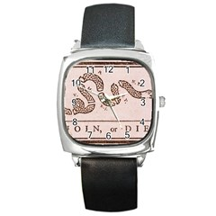 Original Design, Join Or Die, Benjamin Franklin Political Cartoon Square Metal Watch
