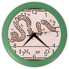 Original Design, Join Or Die, Benjamin Franklin Political Cartoon Color Wall Clocks