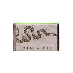 Original Design, Join Or Die, Benjamin Franklin Political Cartoon Cosmetic Bag (xs)