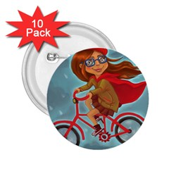 Girl On A Bike 2 25  Buttons (10 Pack)